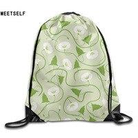 3D Print White Morning Patterns Shoulders Bag Women Fabric Backpack Girls Beam Port Drawstring Travel Shoes
