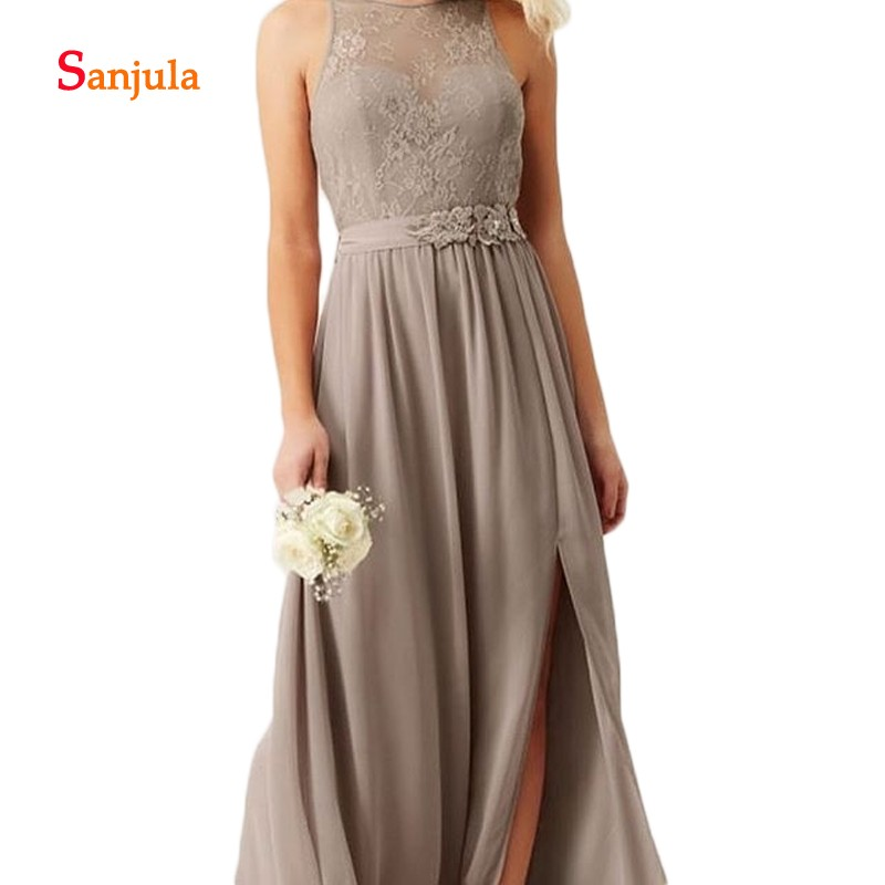Chiffon   Bridesmaid     Dresses   2019 O-Neck Lace Top Maid of Honor   Dresses   with Sashes Open Back Leg Slit Night Party   Dresses   D429