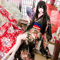 Elegant Women Printed Flower Geisha Robes Dress Classic Japanese Style Cosplay Costumes Sexy Kimono Bath Robe Gowns With Obi 3XL