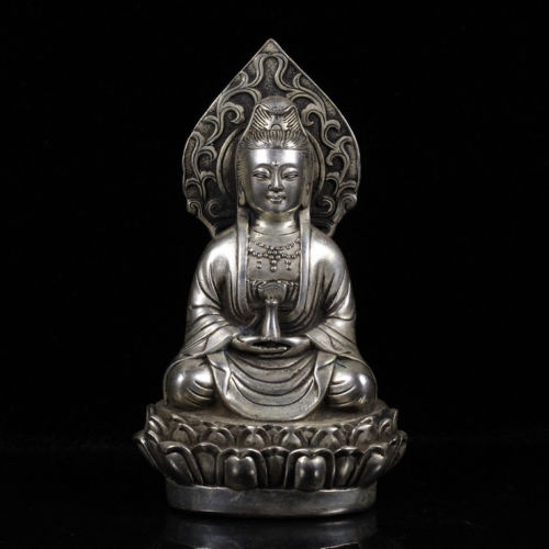 China antique Tibetan silver XuanDe Guanyin Buddha Decoration Statues