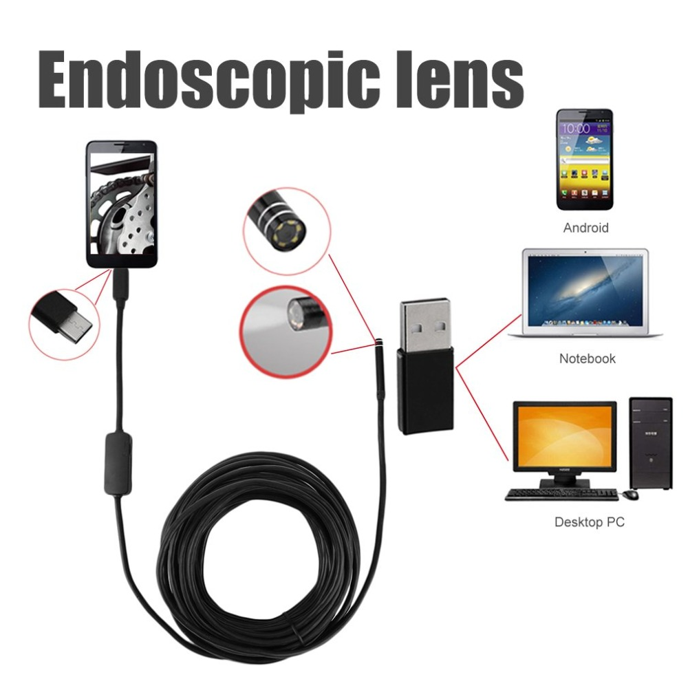 TYPE-C USB Endscope Camera With 5MM Lens 7 M Cable Hard/soft Wire Waterproof IP67 High Resolution 640*480 For AndroidTYPE-C USB Endscope Camera With 5MM Lens 7 M Cable Hard/soft Wire Waterproof IP67 High Resolution 640*480 For Android