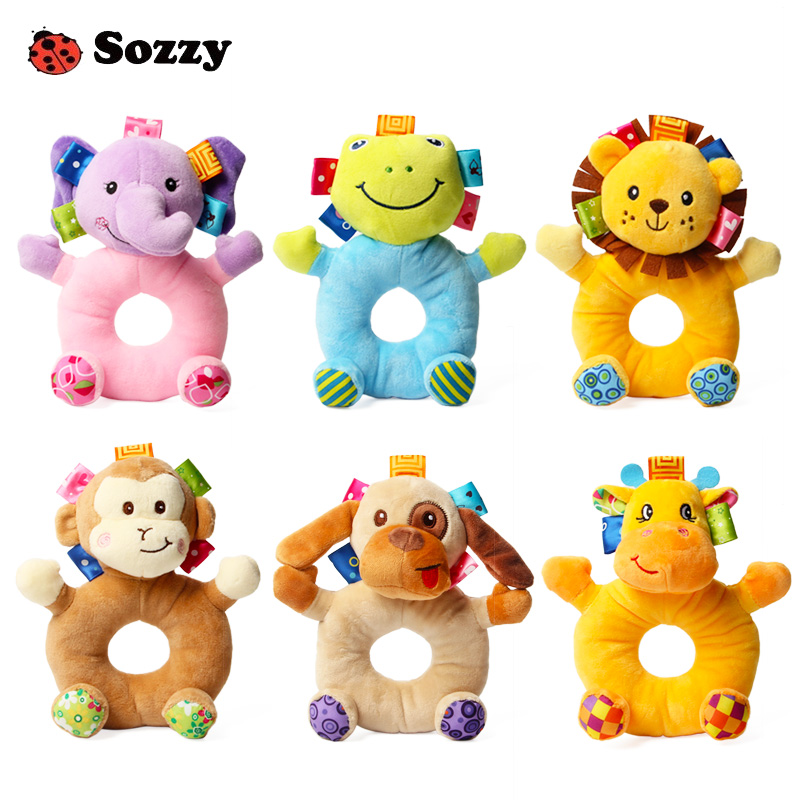 Sozzy Cute Soft Kids font b Baby b font Infant Rattles Plush Stuffed Animals Soothing Educational