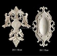 Creative Irregular Flower Wood Carving Furniture Cabinet Door Wood Applique Nautical Home Decor Wooden Moldings Figurines 26cm