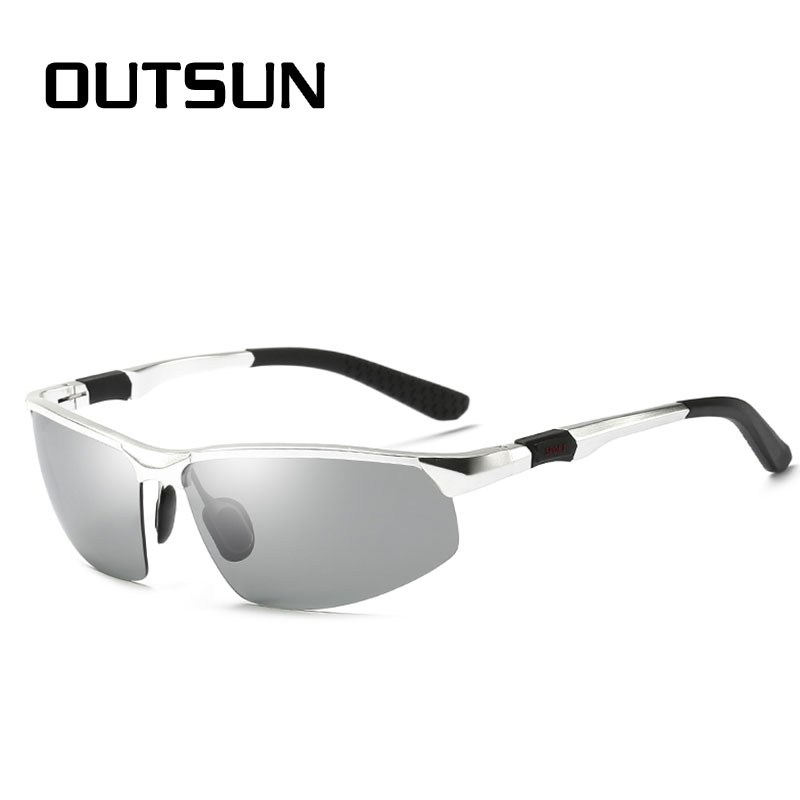 OUTSUN Photochromic Polarized Sunglasses Men Women Drivving Fishing Sun glasses AL+MG Frame UV400 Polaroid Oculos De Sol ...