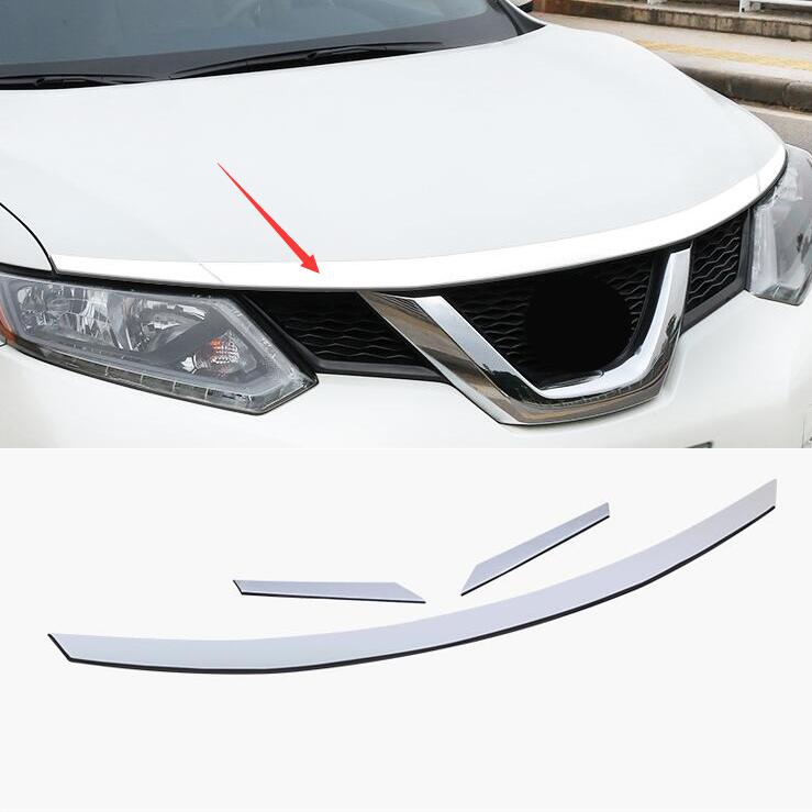car styling case For Nissan X Trail Xtrail T32 Rogue 2014 2017 ABS Chrome Front Hood Grill Cover Bonnet Trim Cover Car Styling