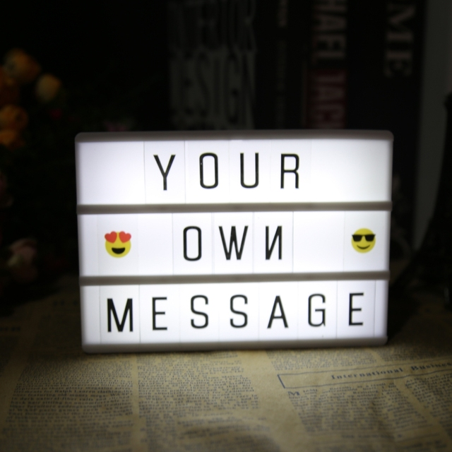 DIY Letter Light A4 A6 Combination LED Night Light Box Night Lamp BLACK Cards USB LED Bulbs Festive Decoration Message Board