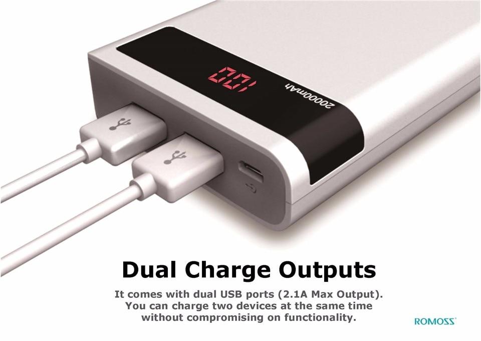 ROMOSS Sense 6P 20000mAh Power Bank Dual USB Portable External Battery 5