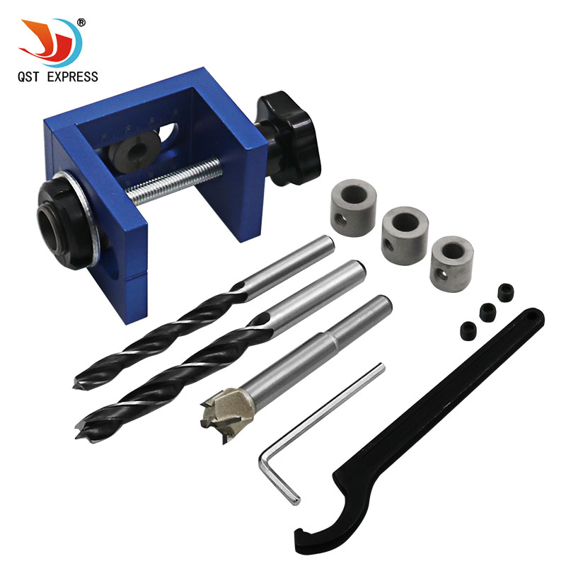 Woodworking Pocket Hole Locate Punch Jig Kit + Step Drilling Bit Wood Tools Set woodworking tool pocket hole jig woodwork guide repair carpenter kit system with toggle clamp and step drilling bit kreg type