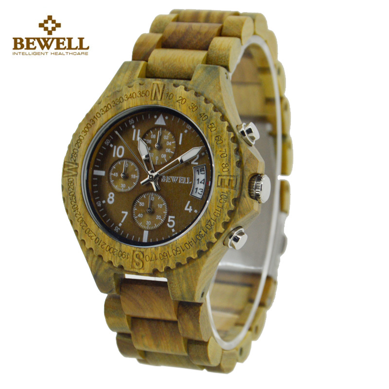 BEWELL Wood Watch Men Top Luxury Quartz Watch Business Calendar Men Watches with Paper Box Montre Homme relogio masculino 115A