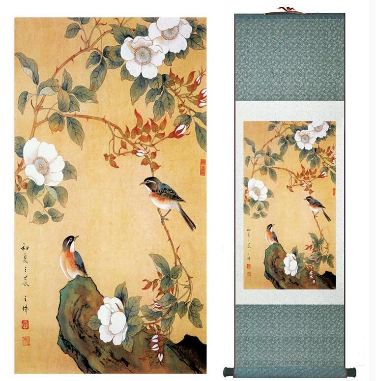 jarní ptáci a květiny Super kvalitní tradiční čínské umění Malířství Domácí dekorace interiérů Čínská malbaTlaskovaná malba