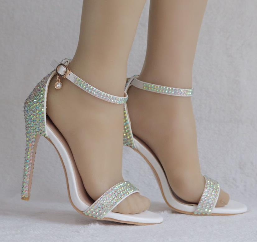 Colorful diamond high heel sandals One-button buckle shoes Fine-toe fish mouth Roman sandals Colorful diamond crystal sandalsColorful diamond high heel sandals One-button buckle shoes Fine-toe fish mouth Roman sandals Colorful diamond crystal sandals