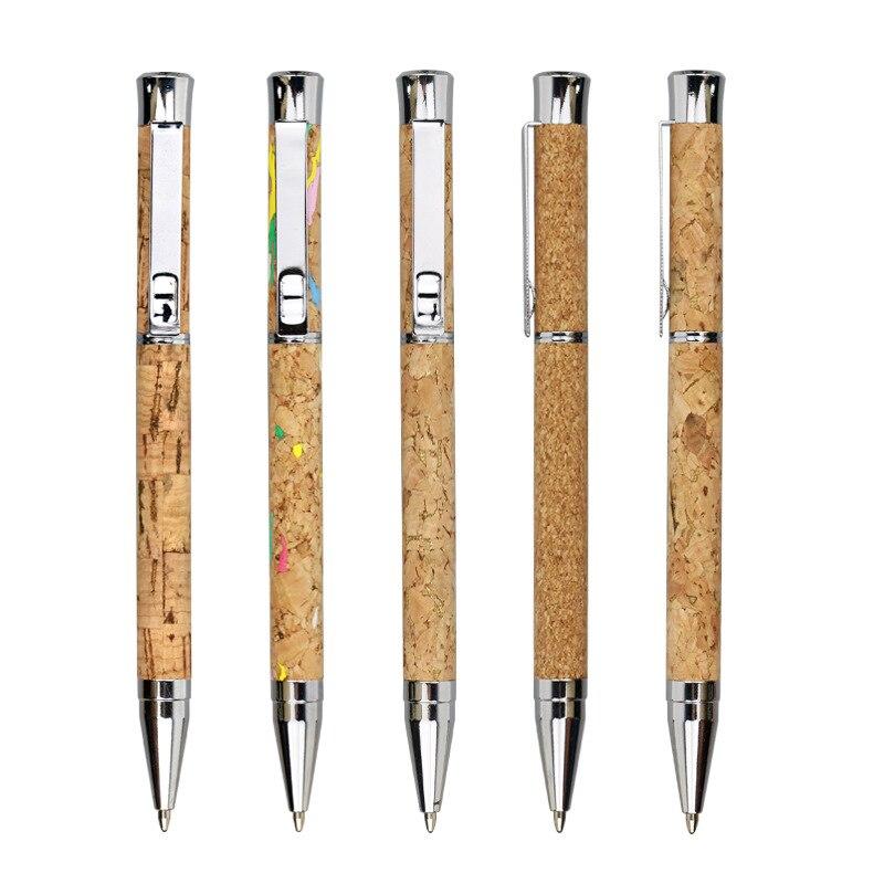 10pcs Random Creative Cork Twist Mechanism Ballpoint Pen 1.0mm Refill Black Ink Pen Luxurious Office Stationery Writing Pens