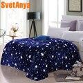 Svetanya Stars Galxy Blanket blue flannel Fleece Plaid sofa Throws winter bedsheet twin queen king Plaid