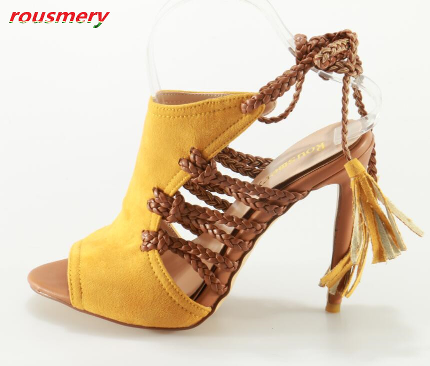 Rousmery New Design Sexy Cut-outs Lace-up Woman Gladiator Sandals Open Toe High Heels Dress Party Shoes Woman Slingback Shoes 2016 new fashion sexy shoes fretwork lace up spike high heels large size shoes woman sandals sapatos gladiator shoe melissa