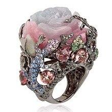 Anillo de tungsteno negro Vintage peonía Rosa flor árbol vid lagartija joyería hecha a mano resina cristal con cuentas Arco Iris anillo O5X878
