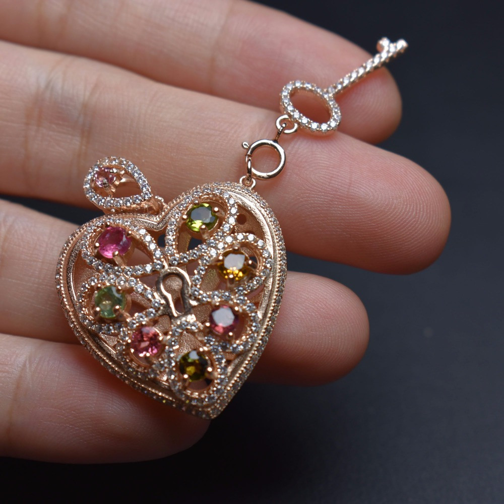 Fine Jewelry Real 925 Steling Silver s925 Heart 100% Natural Tourmaline Gemstones Female Pendant Necklaces Christmas GiftFine Jewelry Real 925 Steling Silver s925 Heart 100% Natural Tourmaline Gemstones Female Pendant Necklaces Christmas Gift
