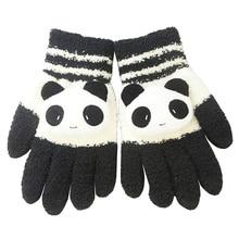 Горячее предложение-женские зимние перчатки для сенсорного экрана с милой пандой черного и белого цвета