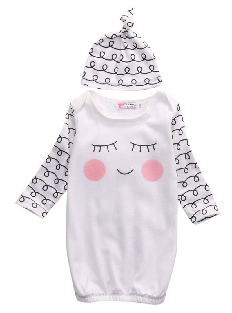 2 Stücke Anzug!! Baumwolle Sleepy Augen + Rosy Wangen Outfit Baby Kleid Roben + Hut Infant Neugeborenen Geschenk Neueste Technik