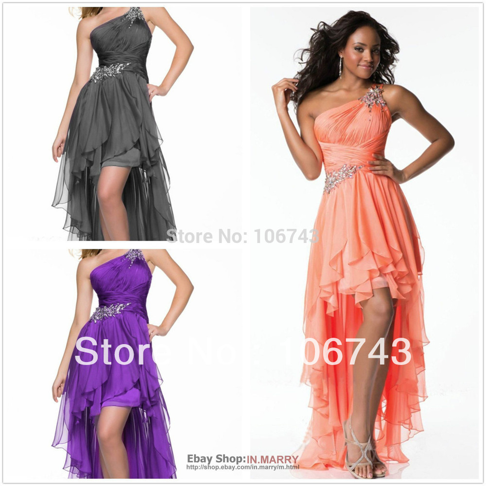 free shipping 2014 new celebrity   dresses   hot tuxedos High-Low One Shoulder short front long back chiffon   prom     dresses   peacocks