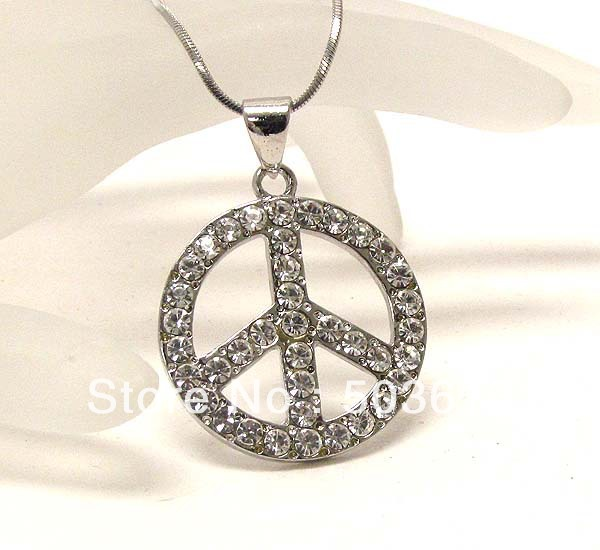 one piece Fashion Jewelry Crystal Metal Peace Mark Pendant Necklace jy107