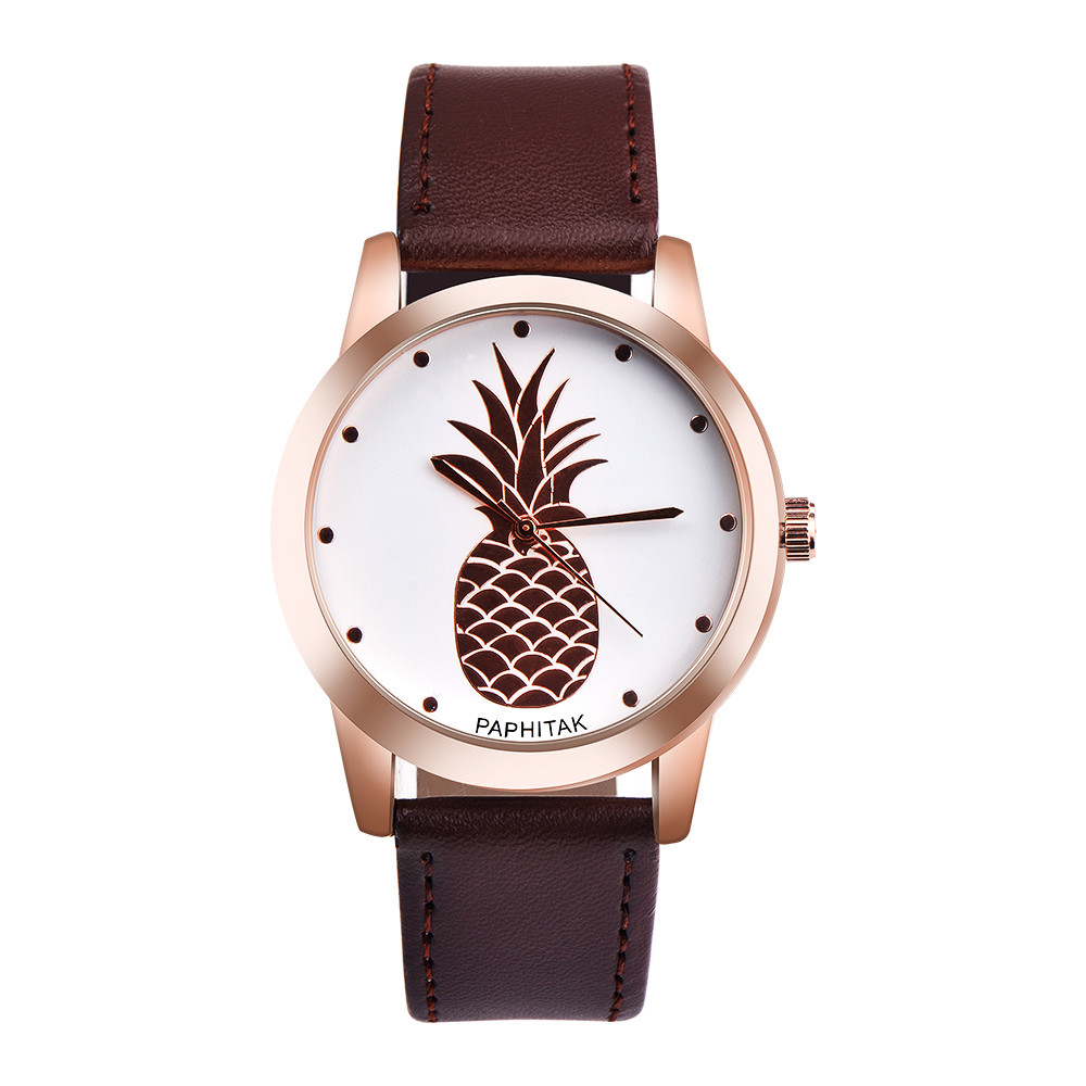 Hot! Womens Men Pineapple Faux Leather Analog Quartz Watch 2017 Newly Designed Relogio Feminino Clock Y797*