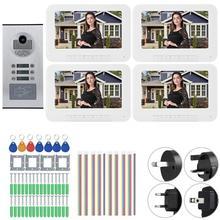 4 Apartments 7 inches 1000TVL HD Video Door Phone Intercom Monitor Doorbell IR-CUT Camera стоимость