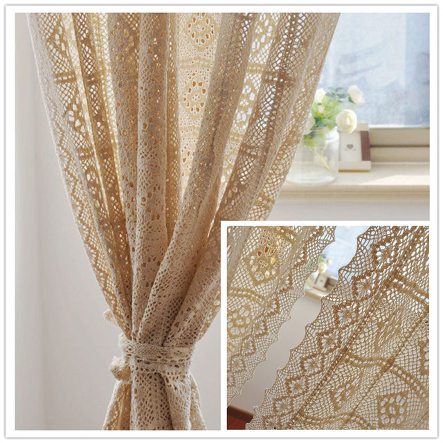 Beige Cotton Crochet Curtains Beautiful Pastoral Style Lace Blackout