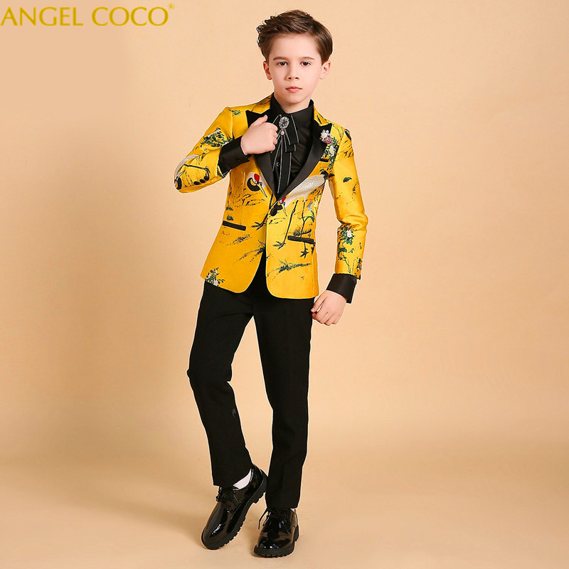 Luxury Catwalk Children Suit Blazer Boys Suits For Weddings British Formal Suit Piano Costume Enfant Garcon Mariage Prom Suits elk print pattern boys clothing blazer catwalk children s piano costumes hosted clothes thick winter boys suits for weddings set