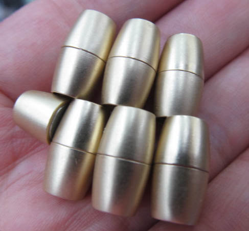 12pcs larger hole-- BRASS Magic Clasp Connectors brass Magnetic Clasps,rice,barrel,coumn rose gold silver clasp 10x16mm