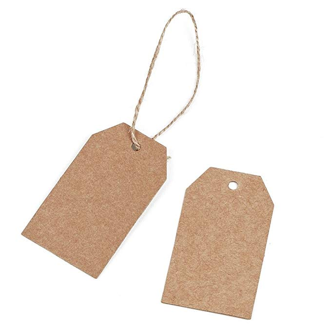 100pcs brown Kraft paper tags with hole for wedding or party decoration gift tags and Packaging Hang Tags is customized labels 3