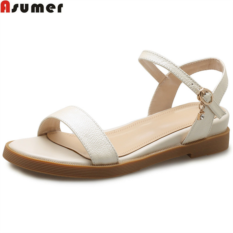 ASUMER black 2018 summer new casual shoes woman buckle sandals women buckle low heels wedges genuine leather shoes comfortable zzpohe summer women shoes woman fashion genuine leather flat sandals woman casual comfortable soft sandals women s wedges shoes