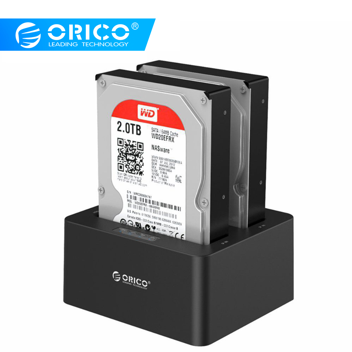 ORICO 2 bay External Hard Drive Docking Station USB3.0 to SATA 2.5 3.5 in with Offline Clone Support UASP Protocol 16TB 6629US3-in HDD Enclosure from Computer & Office    1