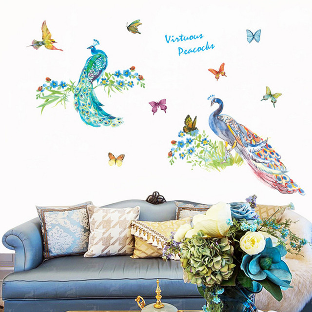 Peacock Wall Stickers 3D Vinyl Wall Decals Home Decor Sticker Living Room Bedroom  Art Decal Kidu0027s