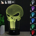 HUI YUAN Skull 3D Night Light RGB Changeable Mood Lamp  6 LED Light DC 5V USB Decorative Table Lamp Get a free remote control