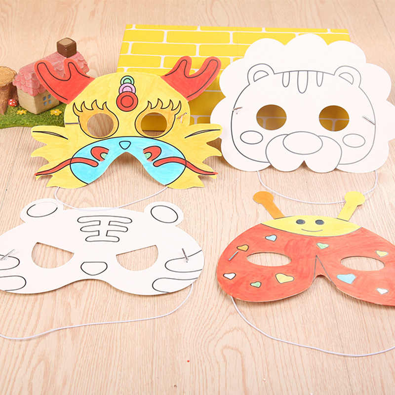 DIY Kids Color Cartoon Animal Painting Mask Kindergarten Preschool Graffiti Art Crafts Toys Creative Drawing Toys for Children