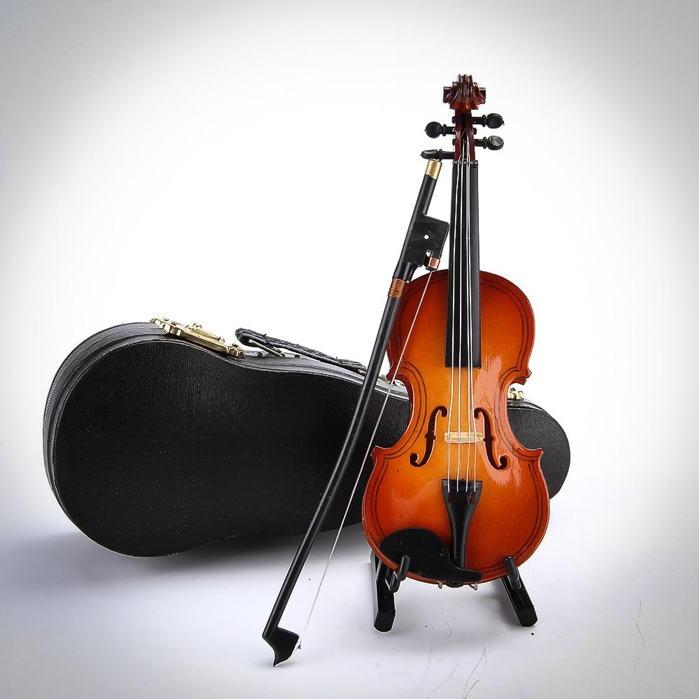 14cm Free Shipping Mini Violin Small Music Instrument Ornament Music Toy Wood Violin Model 14cm Home Decor