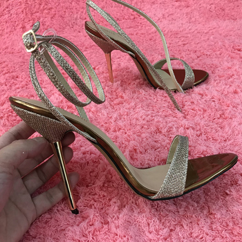 Women Stiletto Iron Thin High Heel Sandals Sexy Ankle Strap Open Toe Gold Glittering Party Bridals Wedding Lady Shoes 3845-i8 summer new 14cm women high heeled sandal fashion bridals stiletto ankle strap peep toe platform sexy party lady shoes 4sl q1