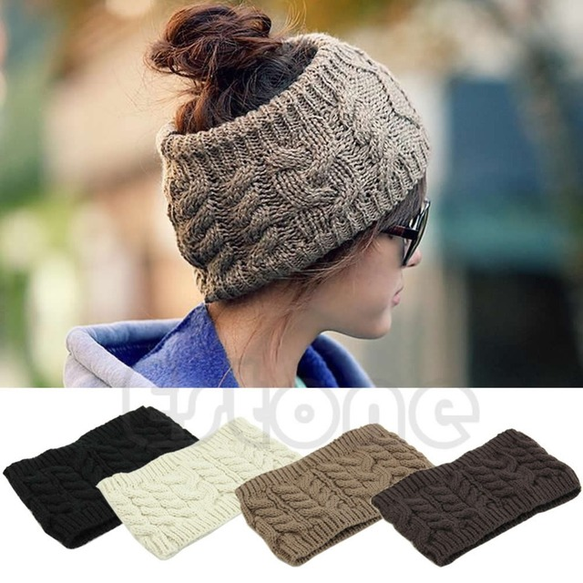 Chic Women Knitted Empty Skull Beanie HeadBand Warm Hat Lady Girl Winter  Ski Cap b2e43d156c3