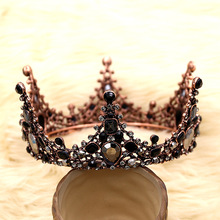 купить Hot Baroque Vintage Crystal Wedding Bridal Tiaras Hairband Headpiece Black Princess Pageant Crown Bridal Hair Accessories M30 дешево