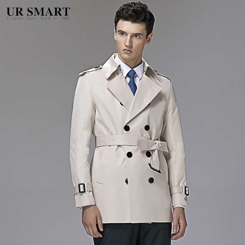 5865091b50e British style URSMART authentic short double-breasted men trench rice white coat  of cultivate one s