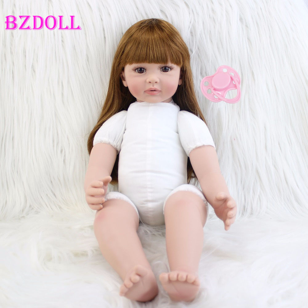 60cm Silicone Reborn Girl Baby Nude Doll Toys Vinyl Princess Toddler Babies Dolls Birthday Gift Limited