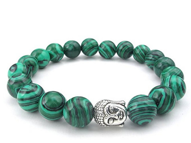 6d262b4692d8 10 12mm energía natural malaquita piedras preciosas para mujer para hombre  pulsera de Buda mala verde en Pulseras del filamento de Joyería y  accesorios en ...