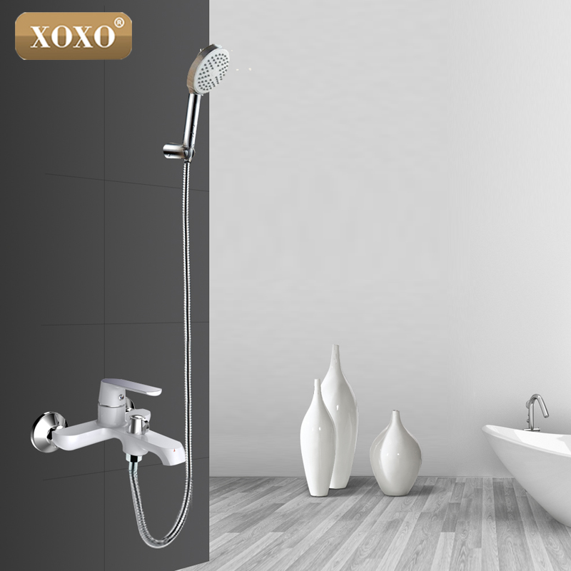 XOXO White Bathroom Shower Brass Chrome Wall Mounted Shower Faucet Shower Head sets green Orange Bath