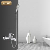 XOXO White Bathroom Shower Brass Chrome Wall Mounted Shower Faucet Shower Head sets green Orange Bath Faucet Mixer Tap 20023R