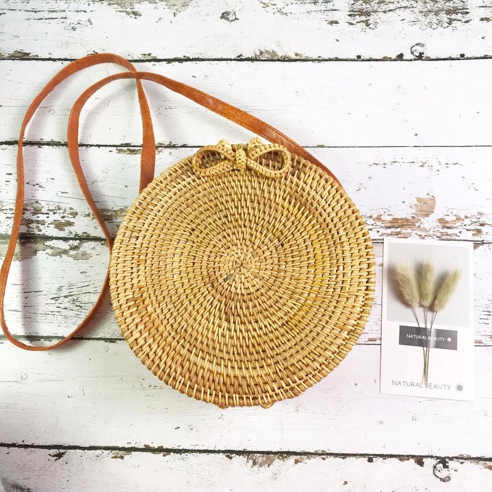 Vietnam Handmade Rattan woven Round Handbag Vintage Retro Straw Knitted Messenger Bag Lady Fresh Handbag Summer Beach Tote все цены