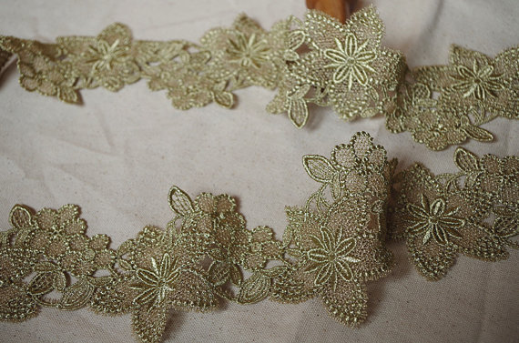 Metallic Gold Lace Trim Gold Crochet Lace With Star Flower