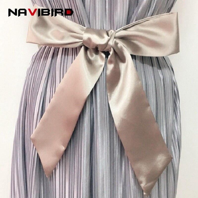 Humorous 195cm New Arrival Soft Silk Wide Belt For Women Cloth-wraped Buckle Woman Waistbands Female Satin Corset Belts Cummerbund A019 Apparel Accessories
