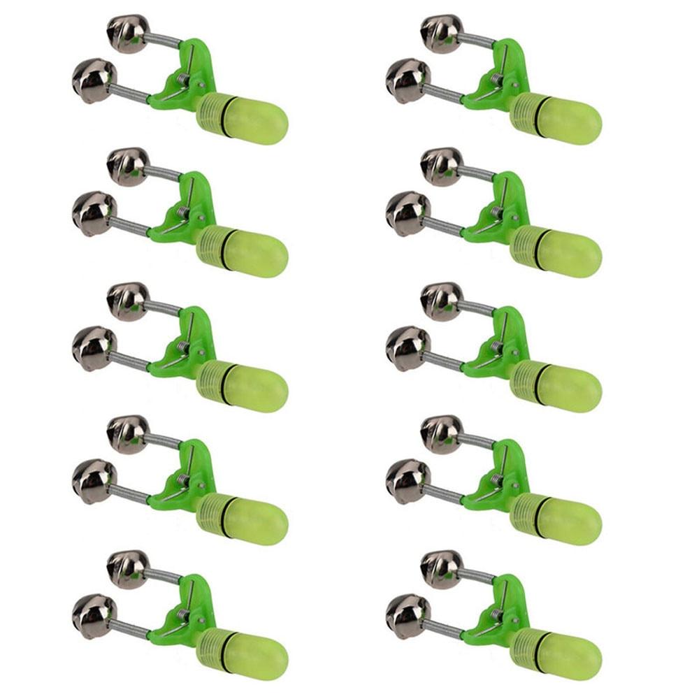 10PCS LED Night Fishing Rod Bite Bait Alarm Light Twin Bells Clip Convenience Fishing Alarm Accessories Light Pesca