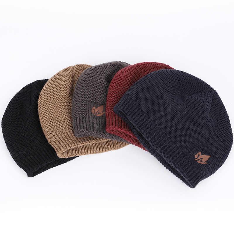d7d77516d85a83 ... 2018 Brand bone men's Winter Hat knitted wool beanies men Hip-Hop  capTurban Caps Skullies ...
