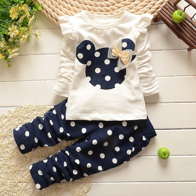 Bear Leader Baby Girls Clothes Casual Spring Baby Clothing Sets Cartoon Printing Sweatshirts+Casual Pants 2Pcs for Baby Clothes 4